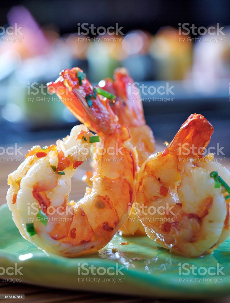 Close-up of freshly cooked hot and spicy prawns royalty-free stock photo