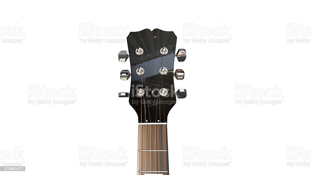 Closeup of front facing machineheads of electric guitar stock photo