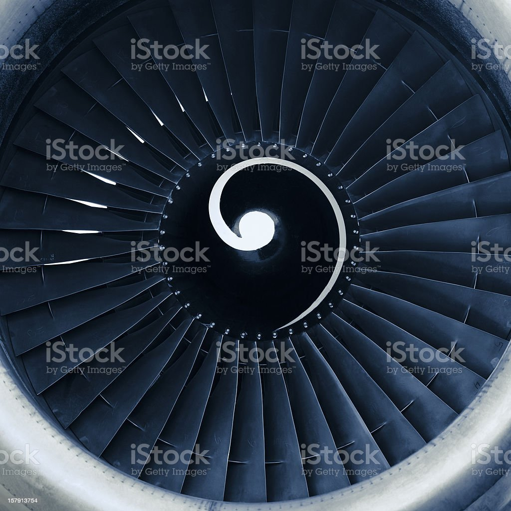 Close-up of front view of aircraft jet engine turbine royalty-free stock photo