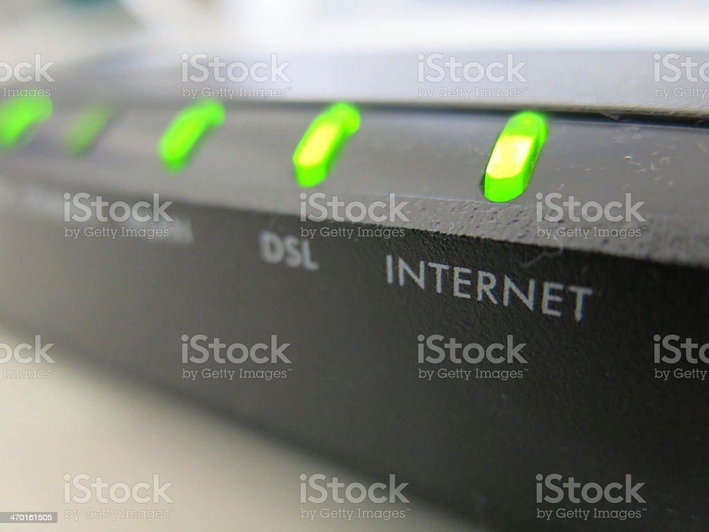 Close-up of functioning Internet modem stock photo