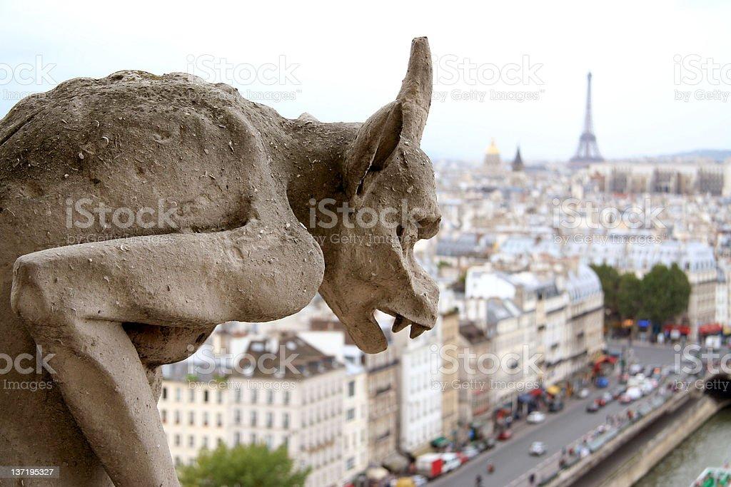 Closeup of gargoyle on Notre Dame de Paris royalty-free stock photo