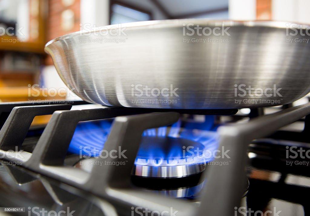close-up of gas stove burner stock photo
