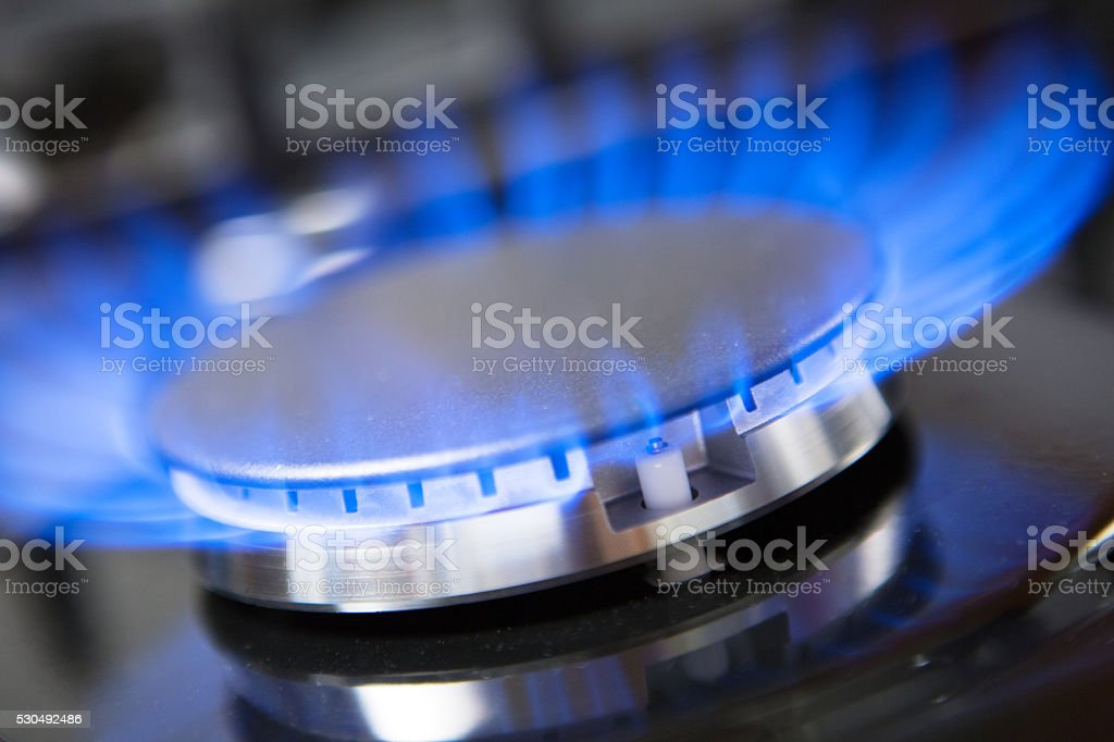 close-up of gas stove burner stock photo