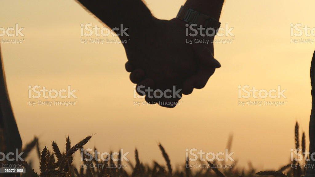 Closeup of gay couple holding hands  each other in wheat foto de stock libre de derechos