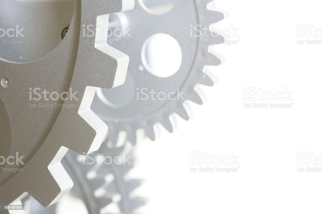 Close-up of gears on white background stock photo