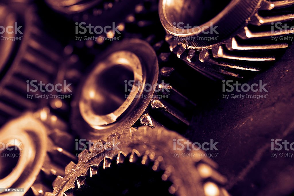 Close-up of Gears, Toned stock photo