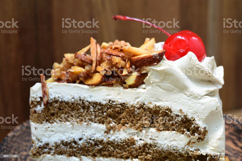 close-up of genoise coffee cake stock photo