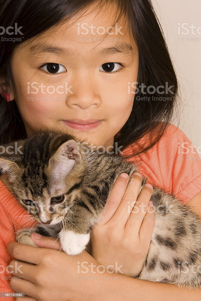 Closeup of girl and kitten royalty-free stock photo