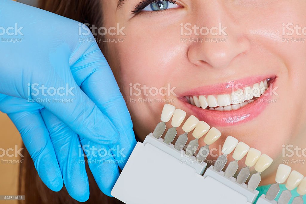 Close-up of  girl with  beautiful smile   dentist. Dental care concept stock photo
