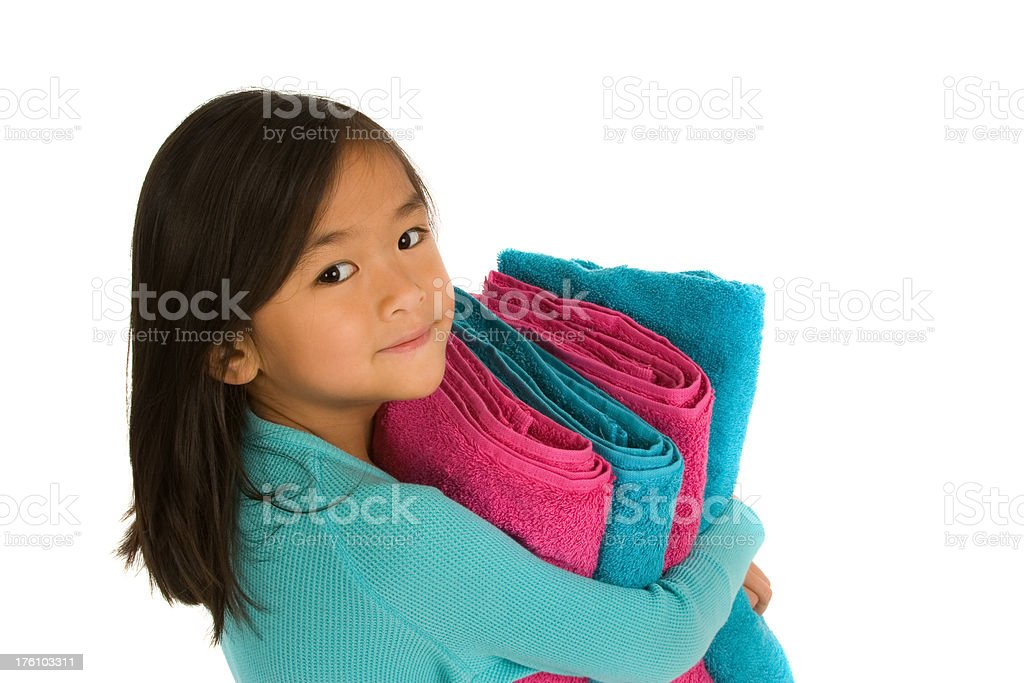 Closeup of girl with towels royalty-free stock photo