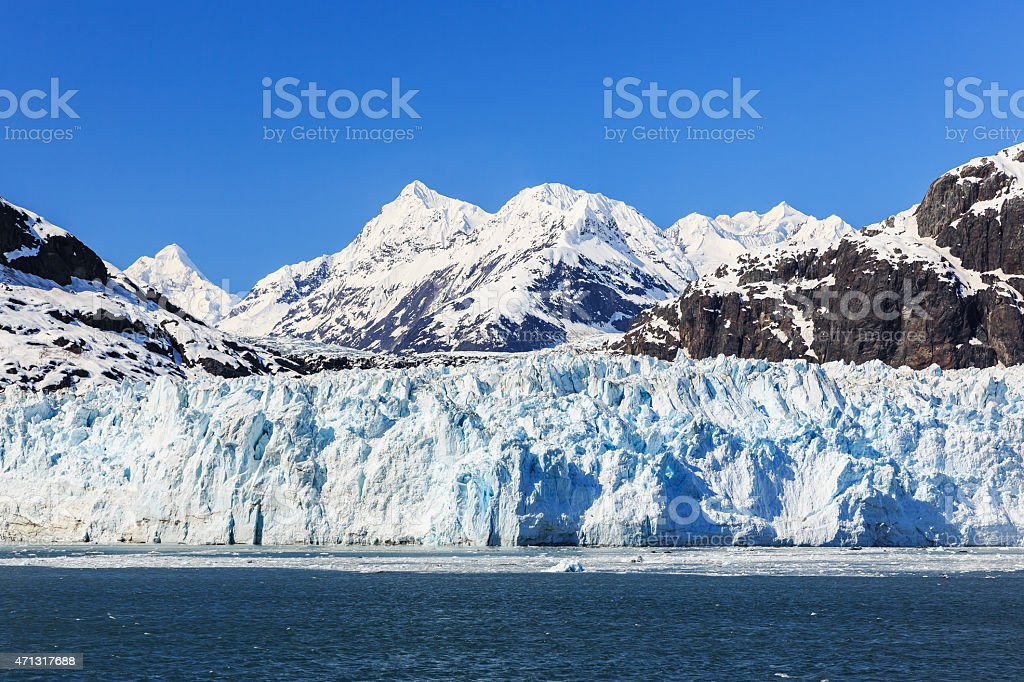 A close-up of Glacier Bay National Park in Alaska stock photo