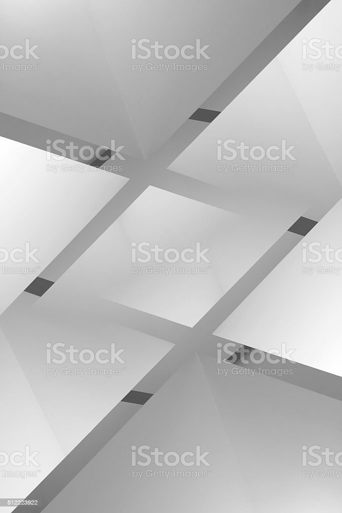 Close-up of glass ceiling with polygonal pattern under transparent roof stock photo