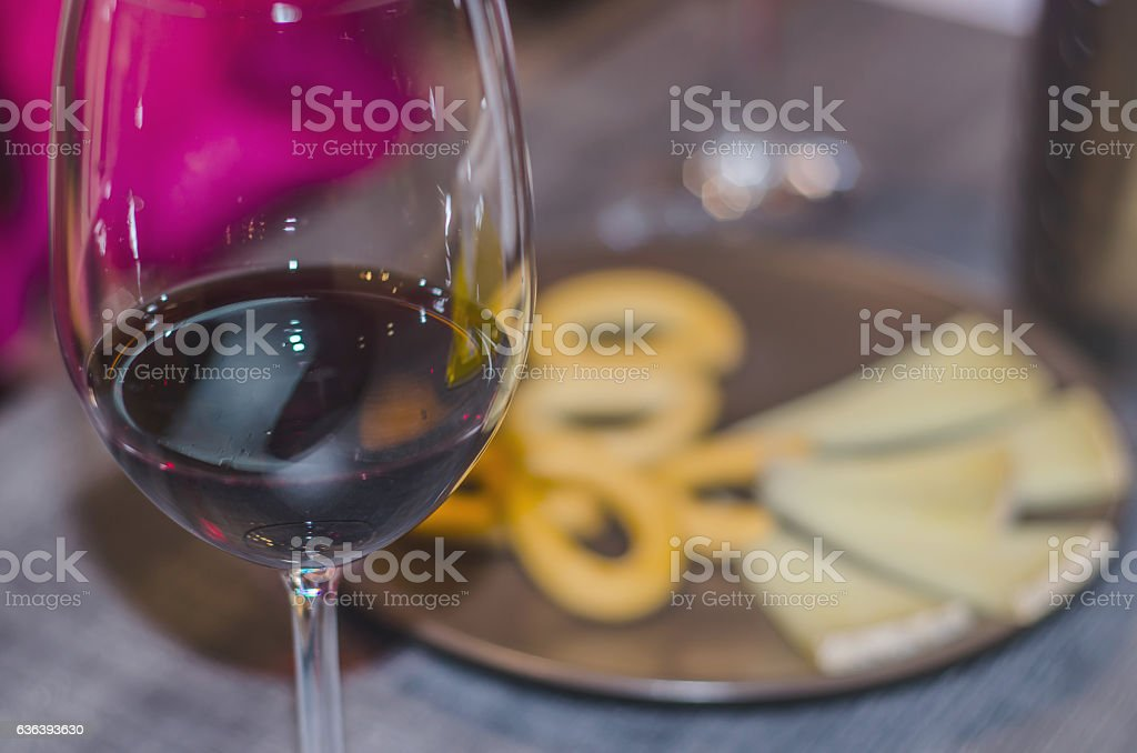 Close-up of glass of red wine stock photo