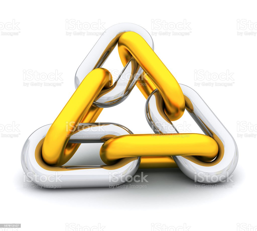 Close-up of gold and silver stainless triangle shape chain stock photo