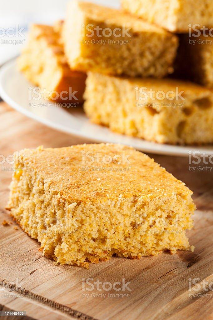 Close-up of gold-colored organic homemade cornbread stock photo