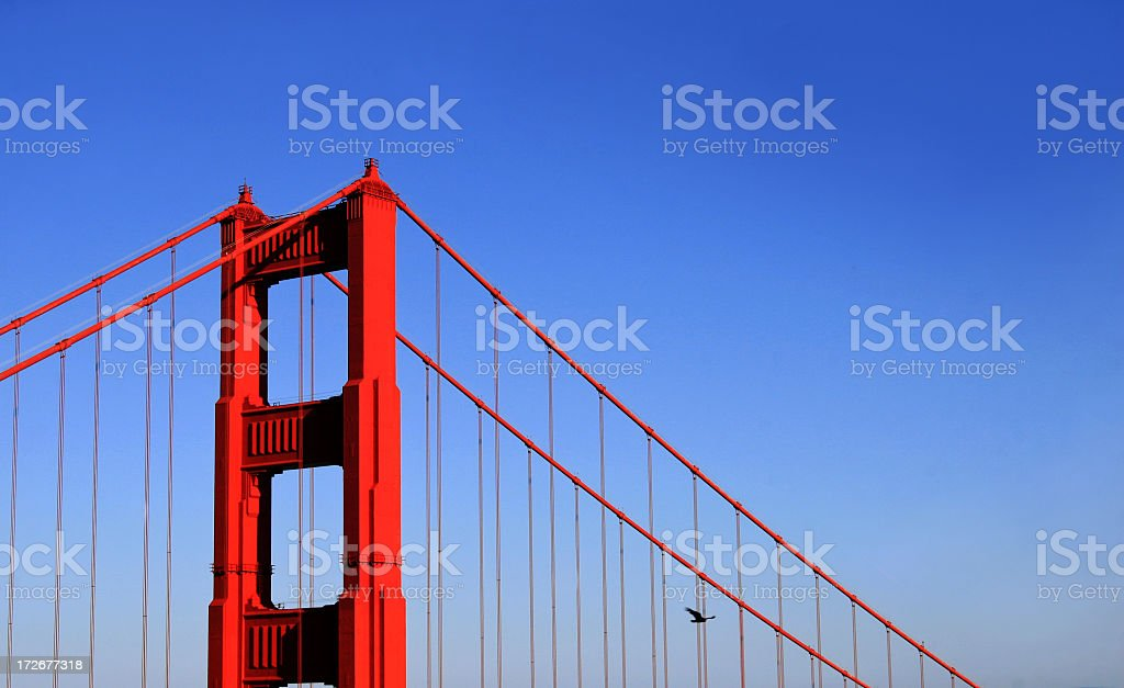 Close-up of Golden Gate Bridge at sunset royalty-free stock photo