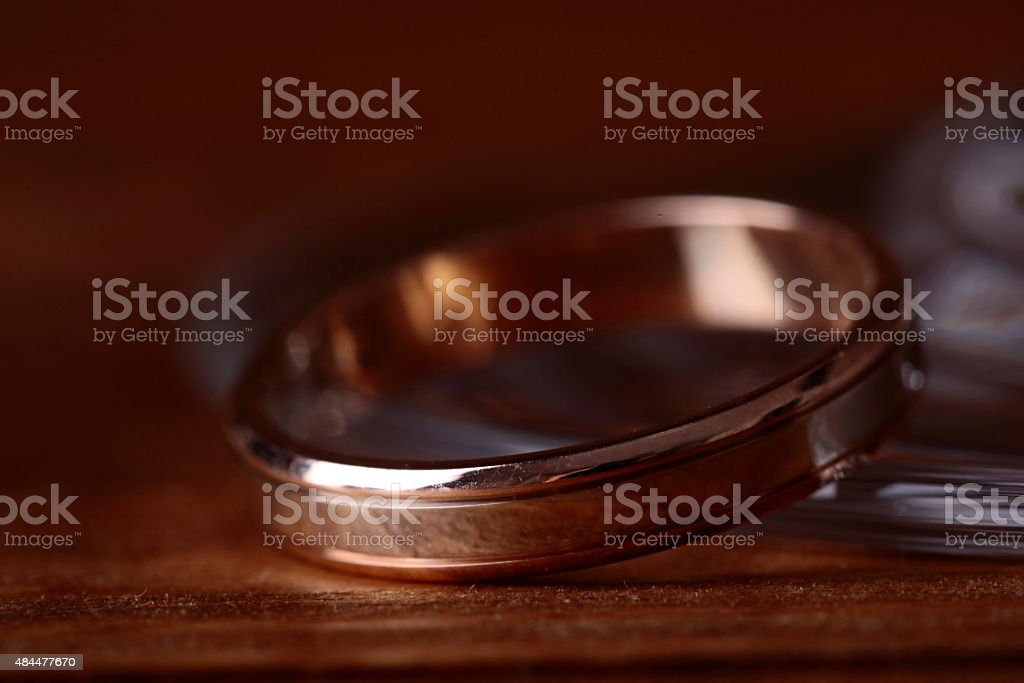 Closeup of golden ring stock photo