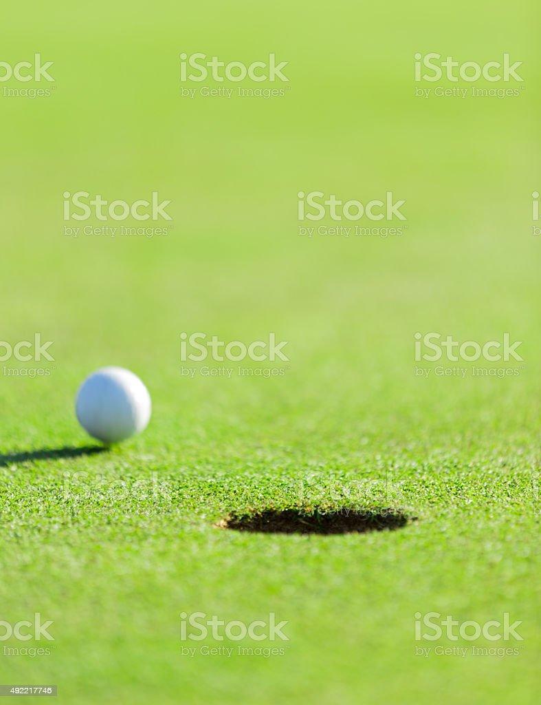 Close-up of golf ball. stock photo