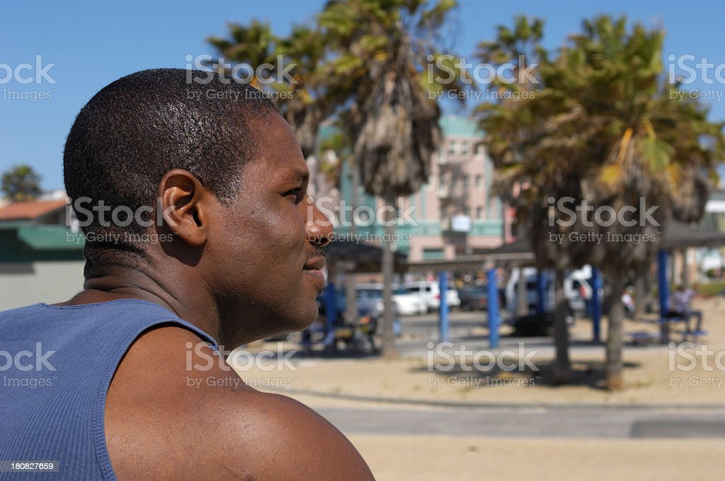 Close-up of Good Looking African American Man on Venice Beach royalty-free stock photo