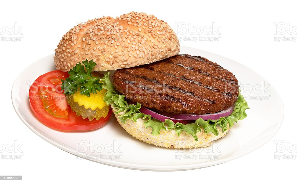Close-up of gourmet hamburger served on white plate stock photo