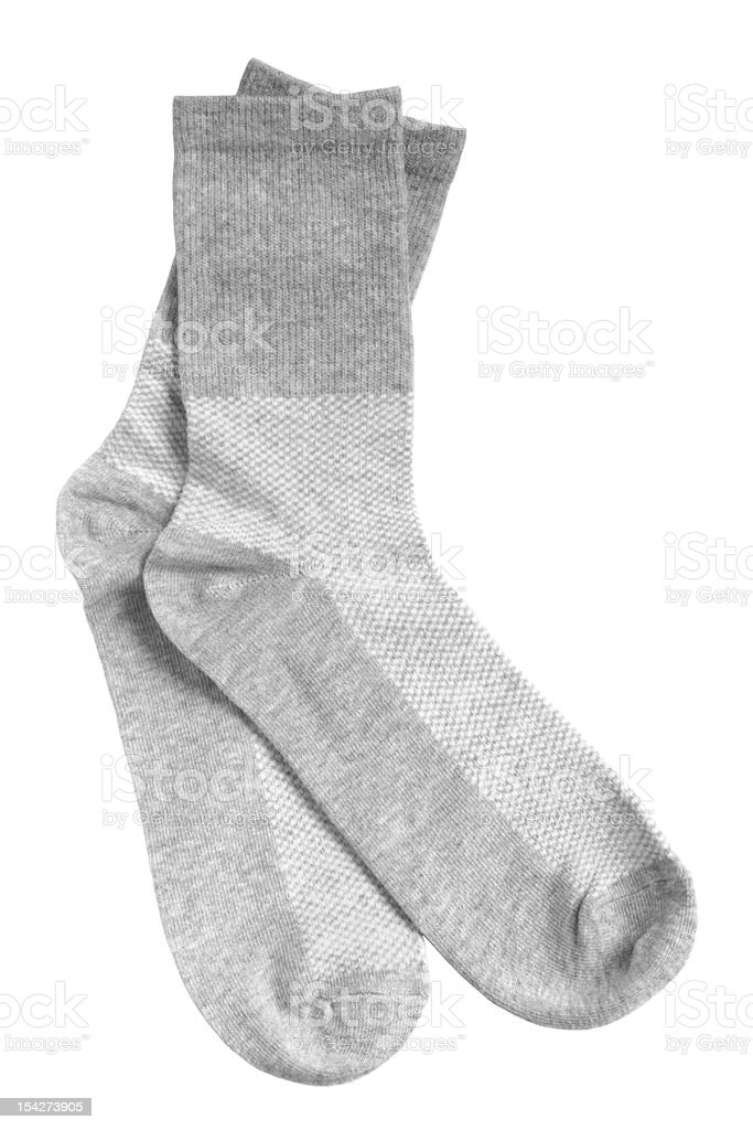 Close-up of gray crew socks isolated on white background stock photo