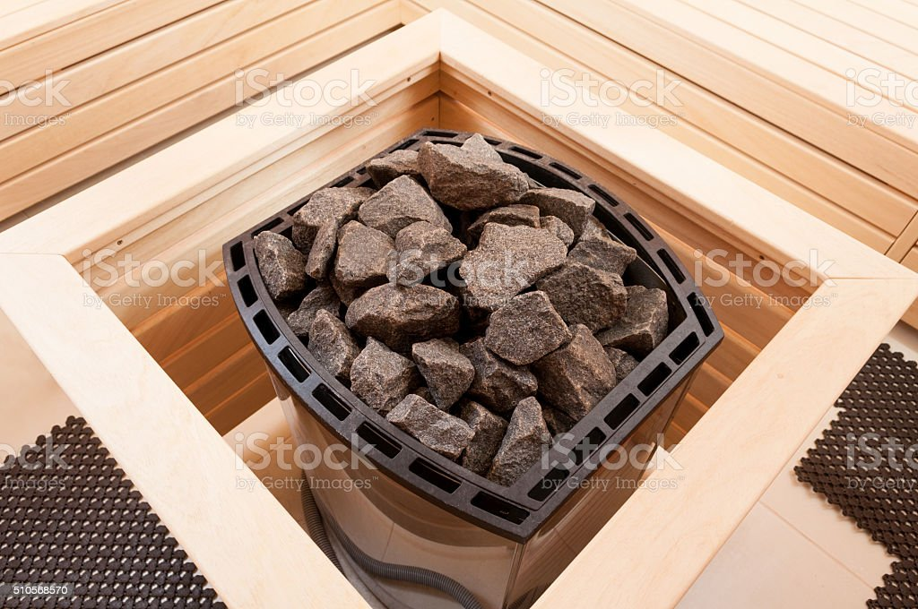 Close-up of gray granite stones in oven stock photo