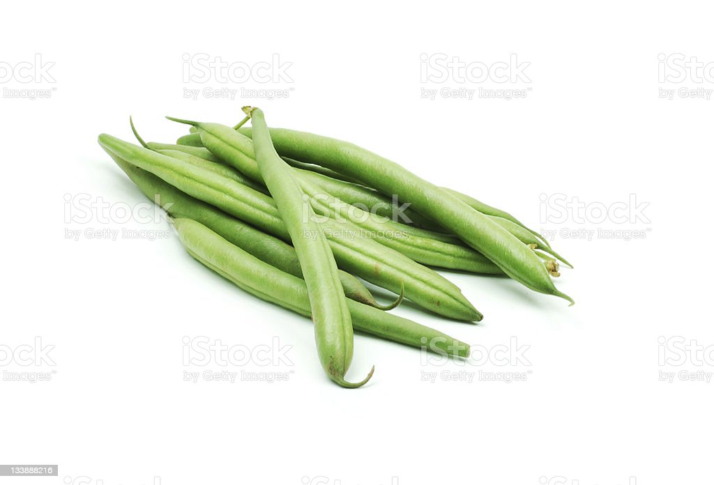 Close-up of green beans on a white background stock photo