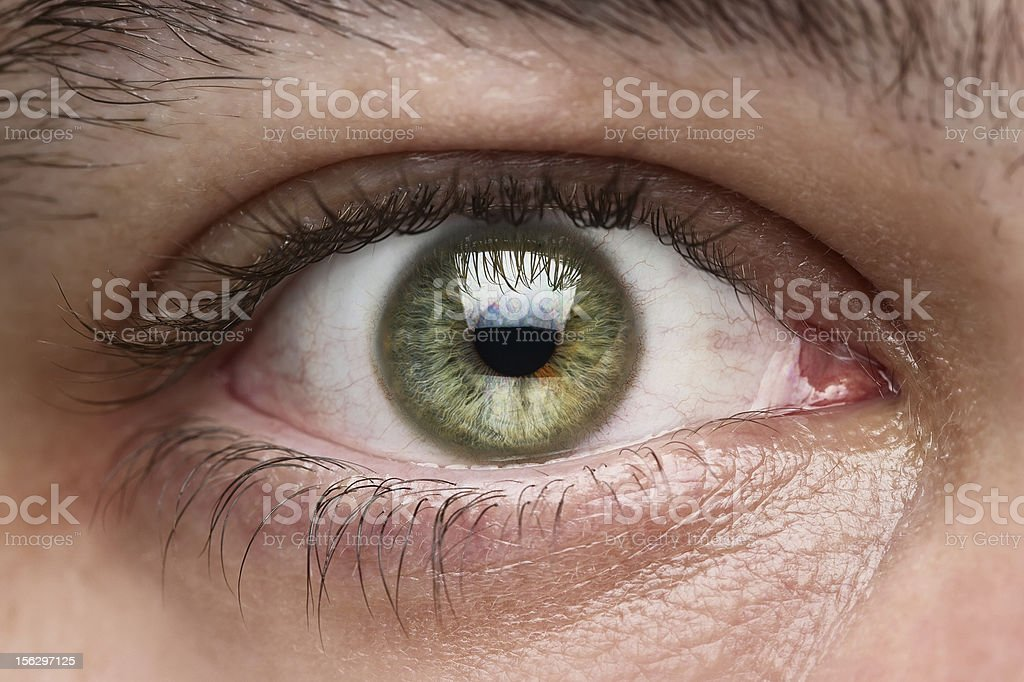 Close-up of green eye of a white person stock photo
