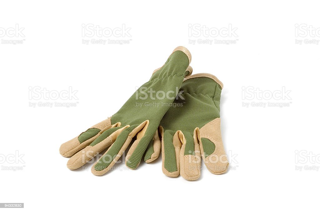 Close-up of green gardening gloves stock photo