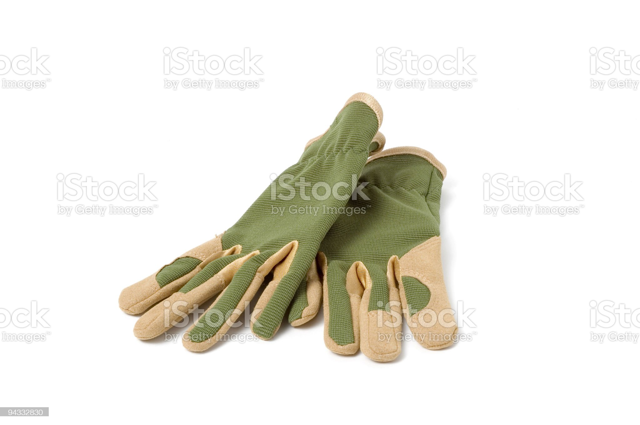 Close-up of green gardening gloves royalty-free stock photo