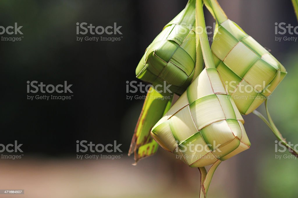 Close-up of green ketupat weavings stock photo