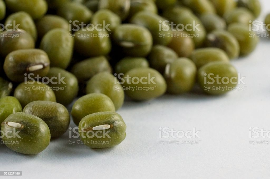 Closeup of green nut beans isolated on white background stock photo