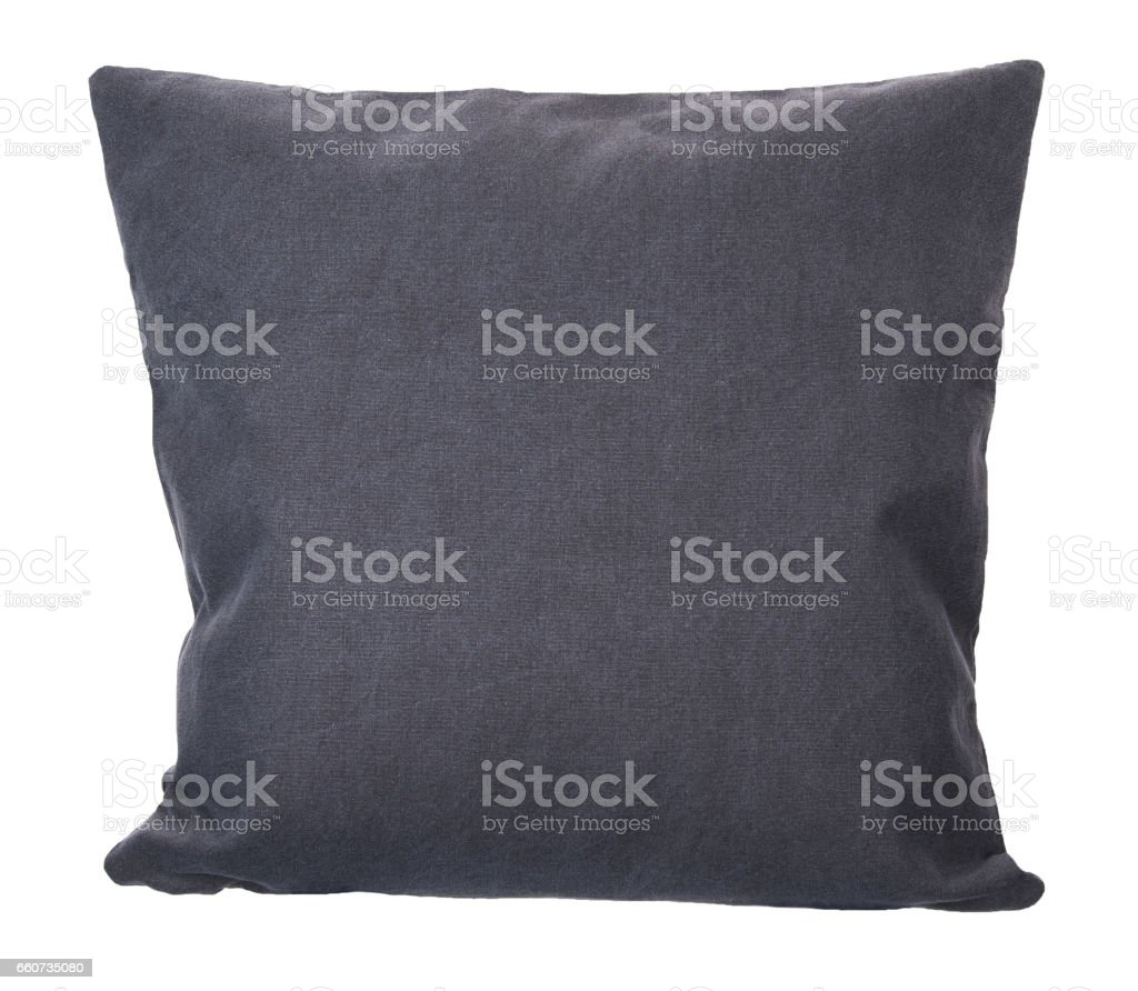 Close-up of grey pillow isolated stock photo