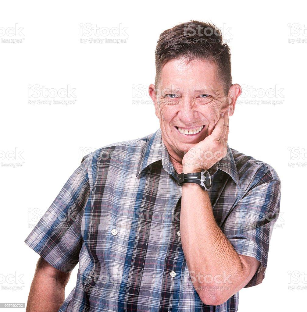 Closeup of Grinning Transgender Man stock photo