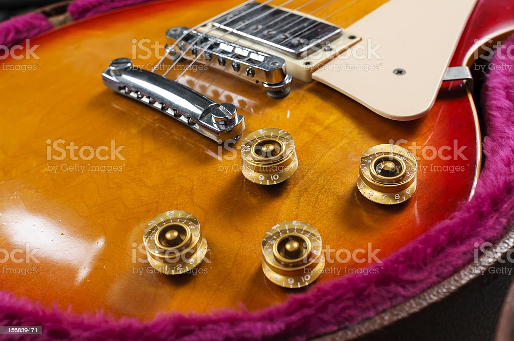 close-up of guitar knobs stock photo