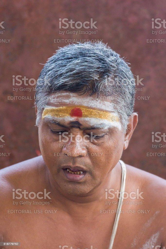 Closeup of guru face at Amma Mandapam. stock photo