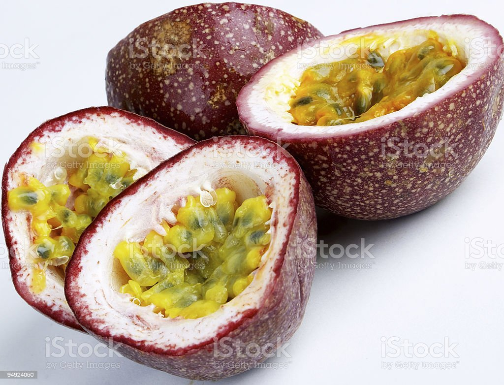 Close-up of halved passionfruit stock photo