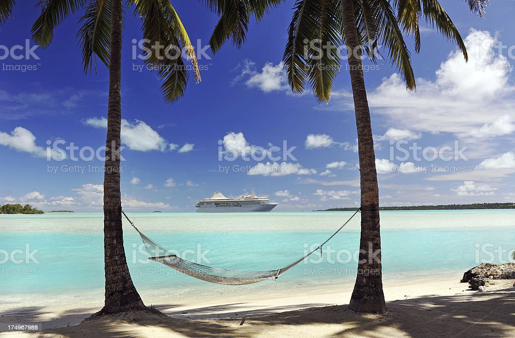 Closeup of hammock, palm trees at tropical island stock photo