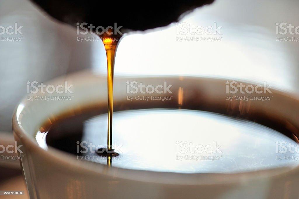 close-up of hand drip coffee stock photo