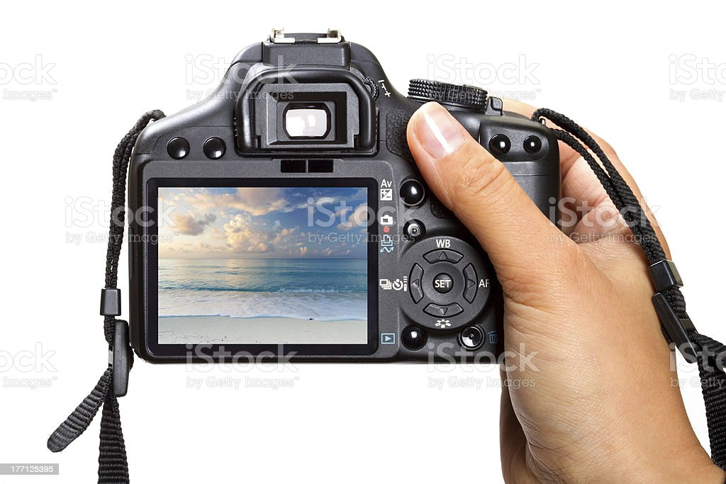 Closeup of hand holding dslr camera stock photo