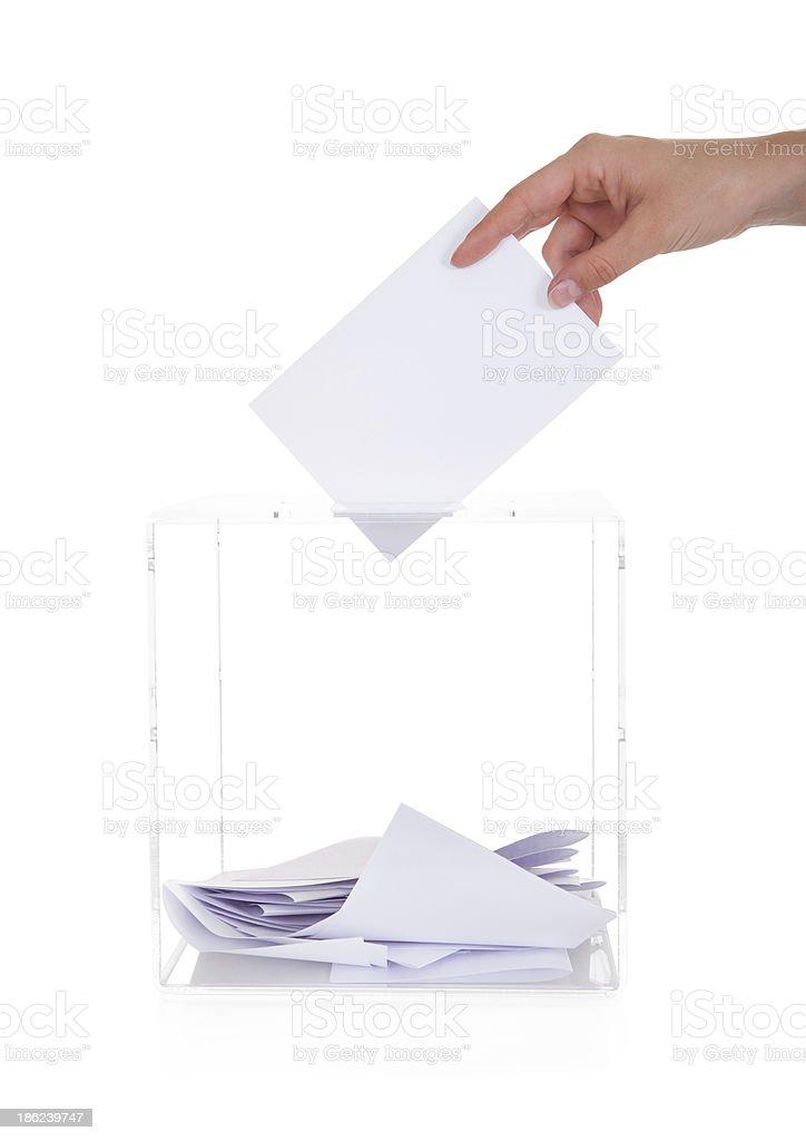 Closeup Of Hand Inserting Ballot In Box royalty-free stock photo