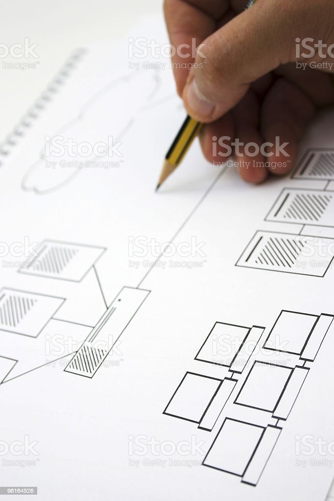 Close-up of hand-drawn networking design blueprints royalty-free stock photo