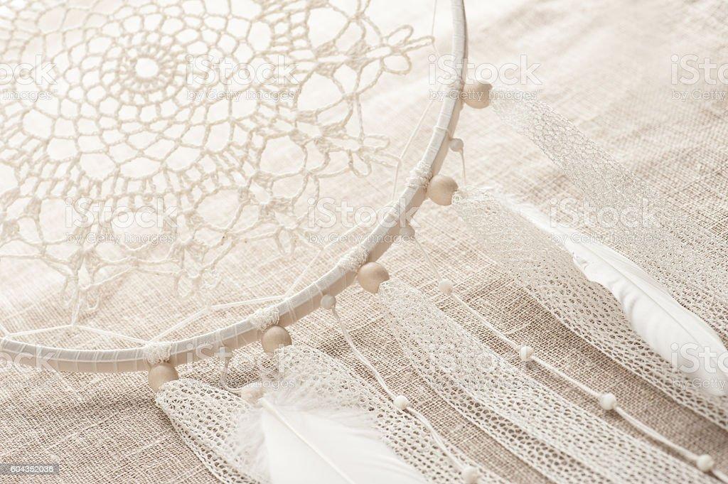 Closeup of handmade dream cathcer stock photo