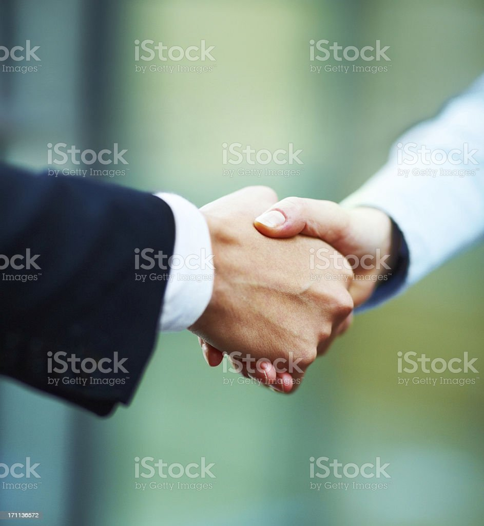 Close-up of hands shake between two business people royalty-free stock photo