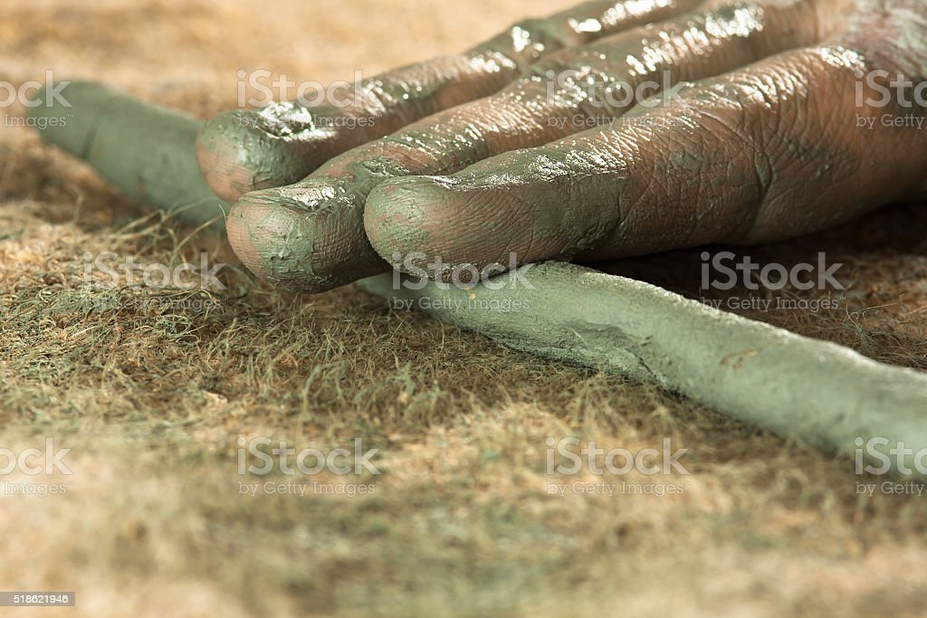 closeup of hands working with clay stock photo