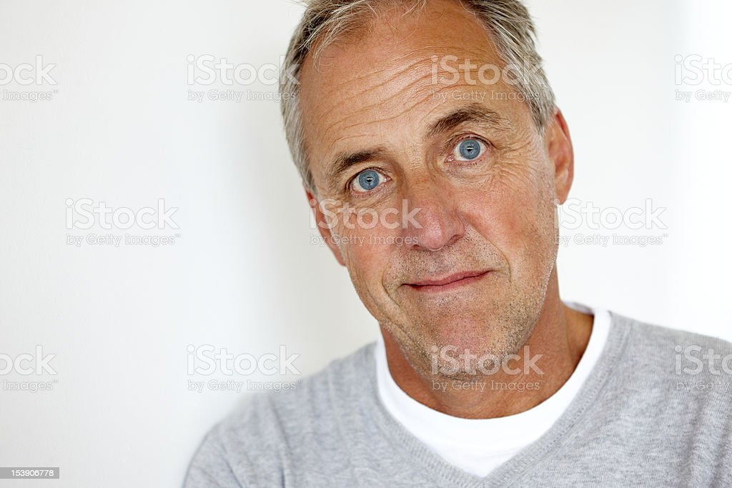 closeup of handsome mature man isolated on white background royalty-free stock photo