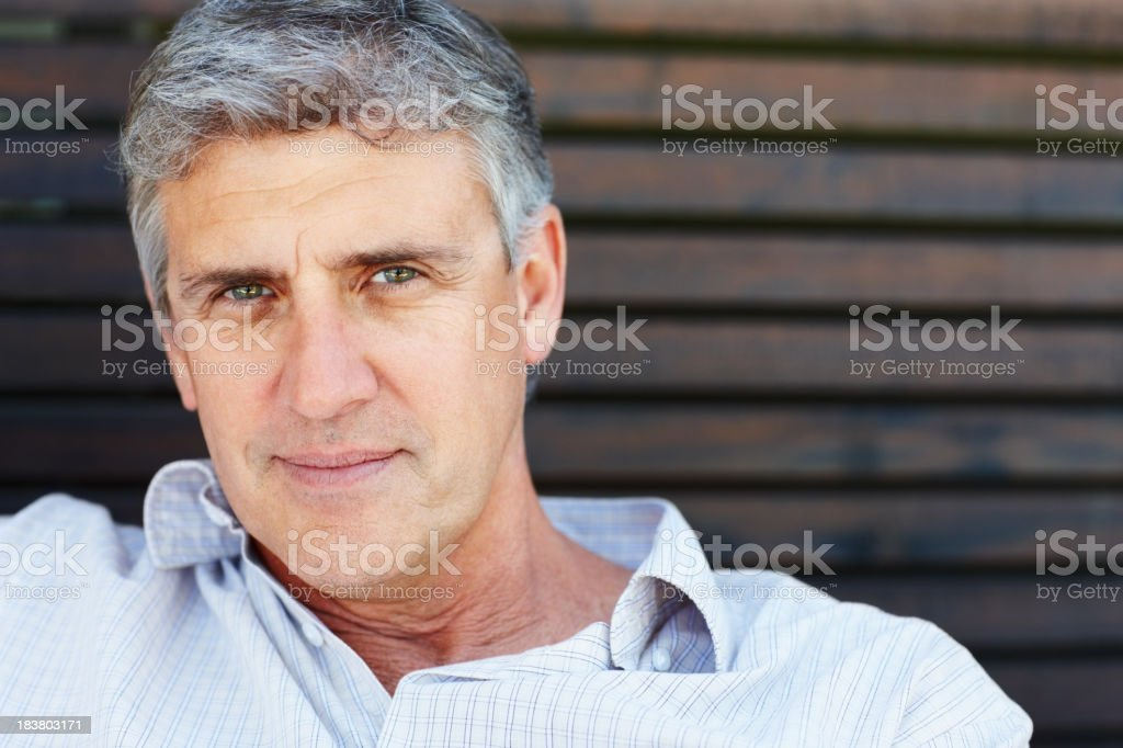 Closeup of handsome mature man royalty-free stock photo