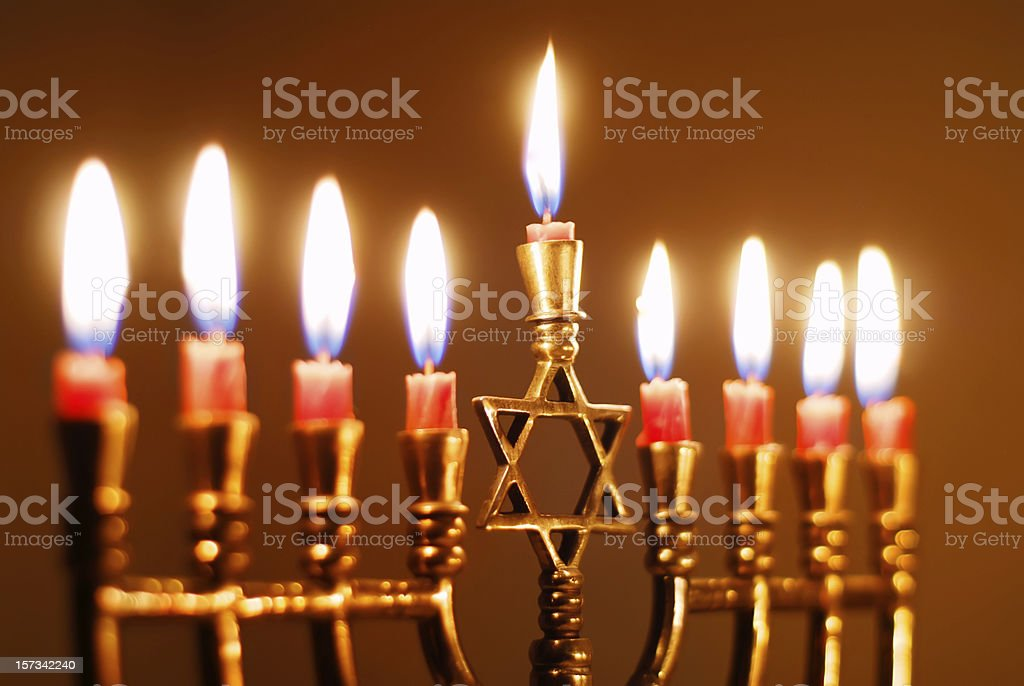 Closeup of Hanukkah Menorah stock photo