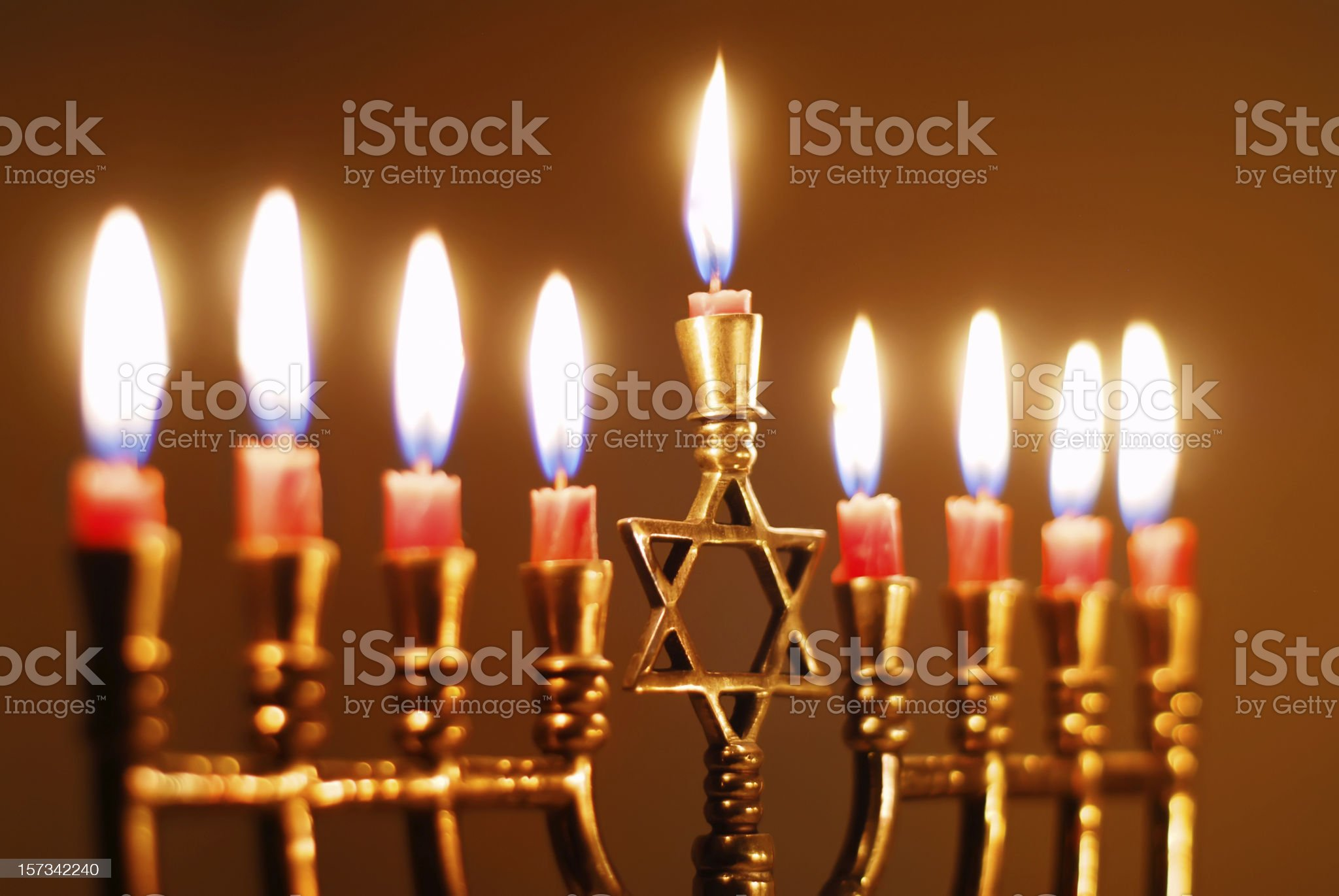 Closeup of Hanukkah Menorah royalty-free stock photo