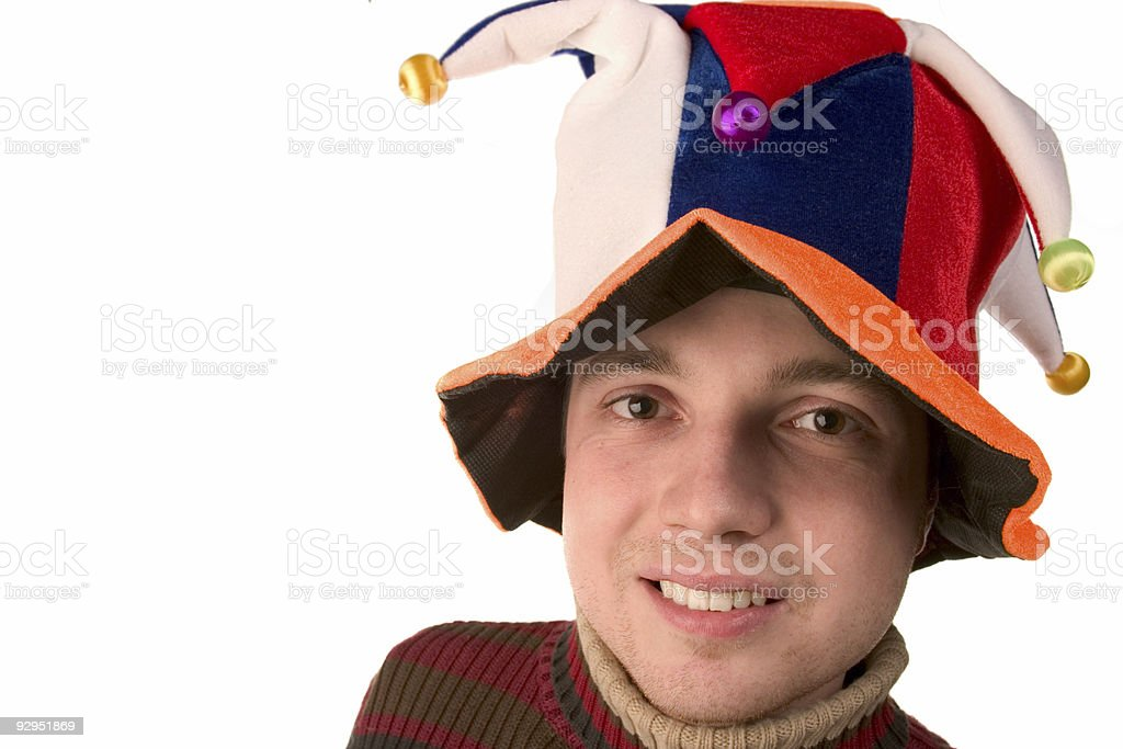 closeup of happy boy in Jester cap royalty-free stock photo